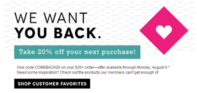 Birchbox uses discounts to give visitors who abandoned their cart to come back and complete their registration.