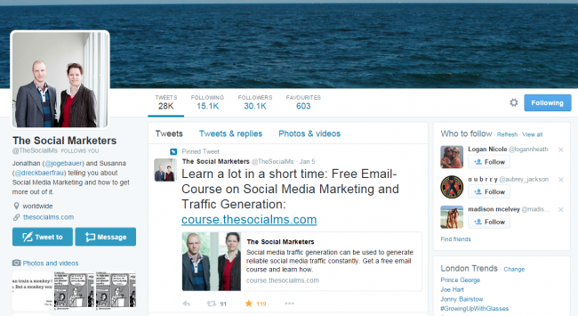 Twitter page of The Social Marketers.