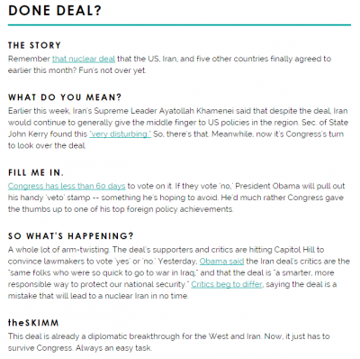 A news story as covered by the ladies of the Skimm.