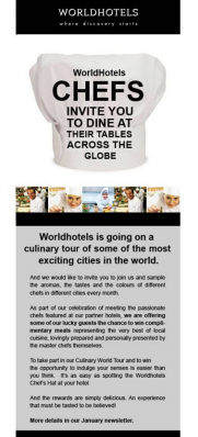 Worldhotels competition newsletter.
