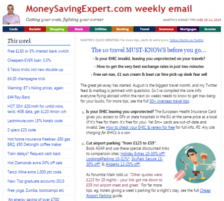 Martin's Money Tips Email.