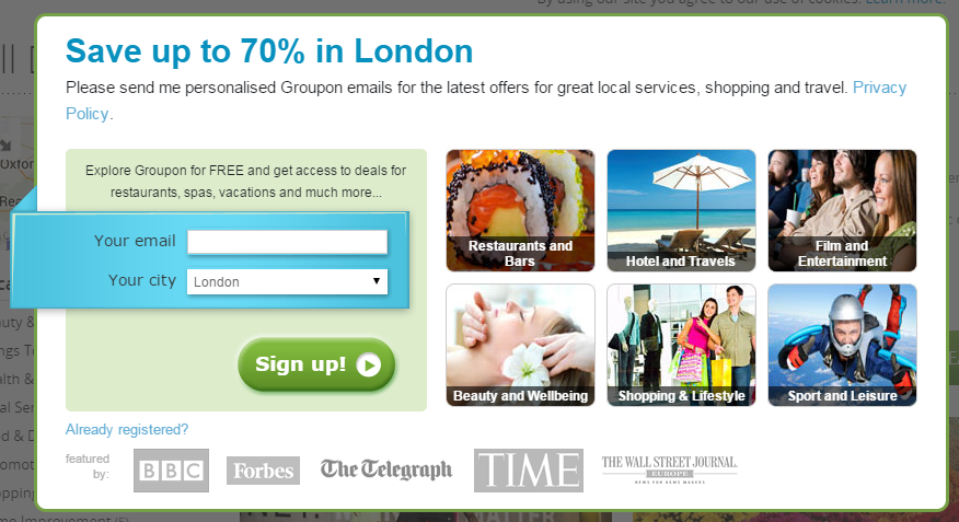 Popup on Groupon London's website.