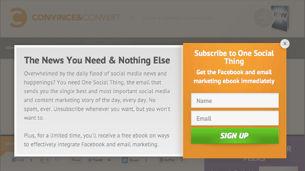Popup by Convince & Convert.
