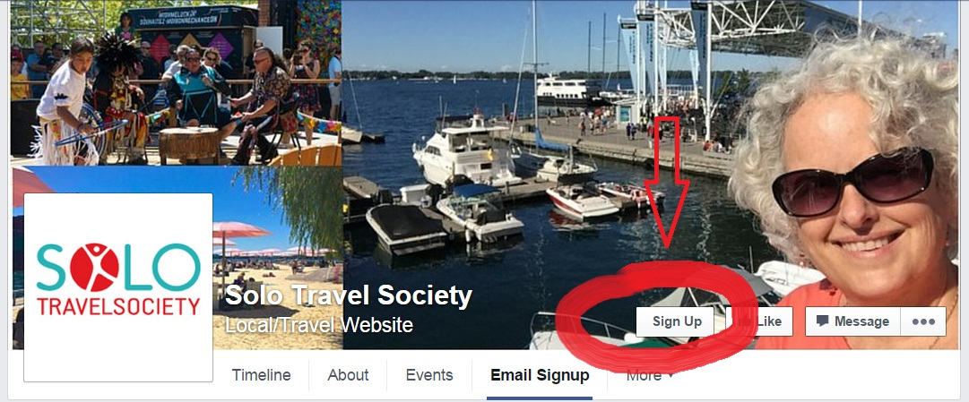 Email Signup Button from Solo Travel Society