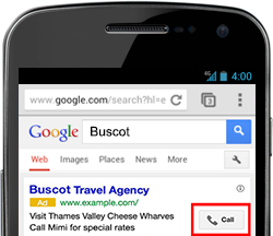 Example of a Google Adwords call extension.