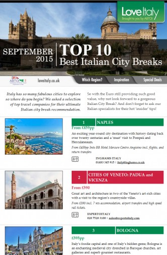 Best Italian City Breaks (Live Newsletter)