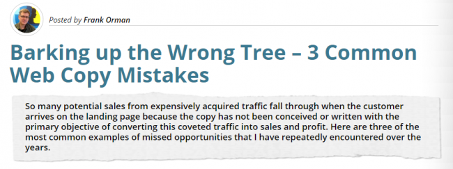 Barking up the Wrong Tree – 3 Common Web Copy Mistakes