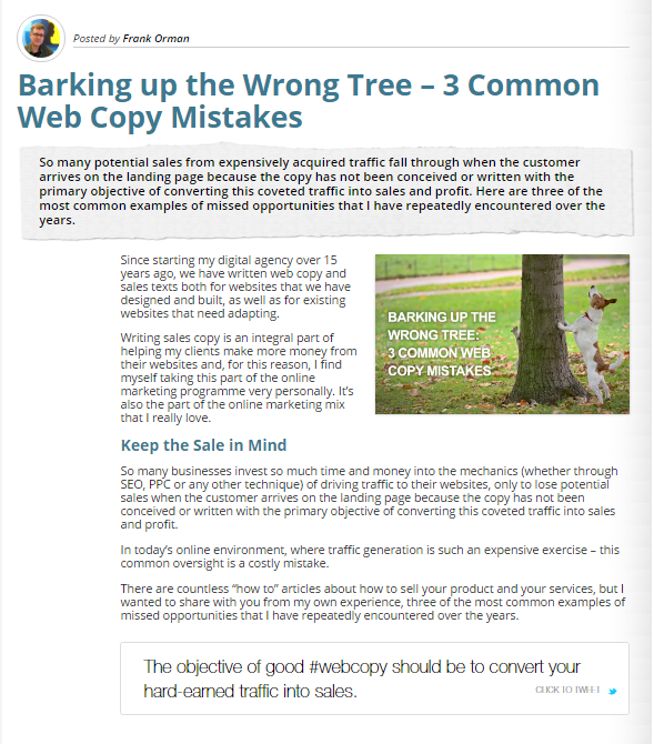 Barking up the Wrong Tree: 3 Common Web Copy Mistakes